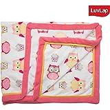 Luvlap Newborn Baby Super Ultra Soft Baby Blanket, Pink Owl (110cm x 130cm)