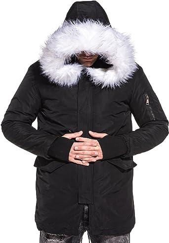 Manteau parka hiver stylé à capuche fausse fourrure blanche