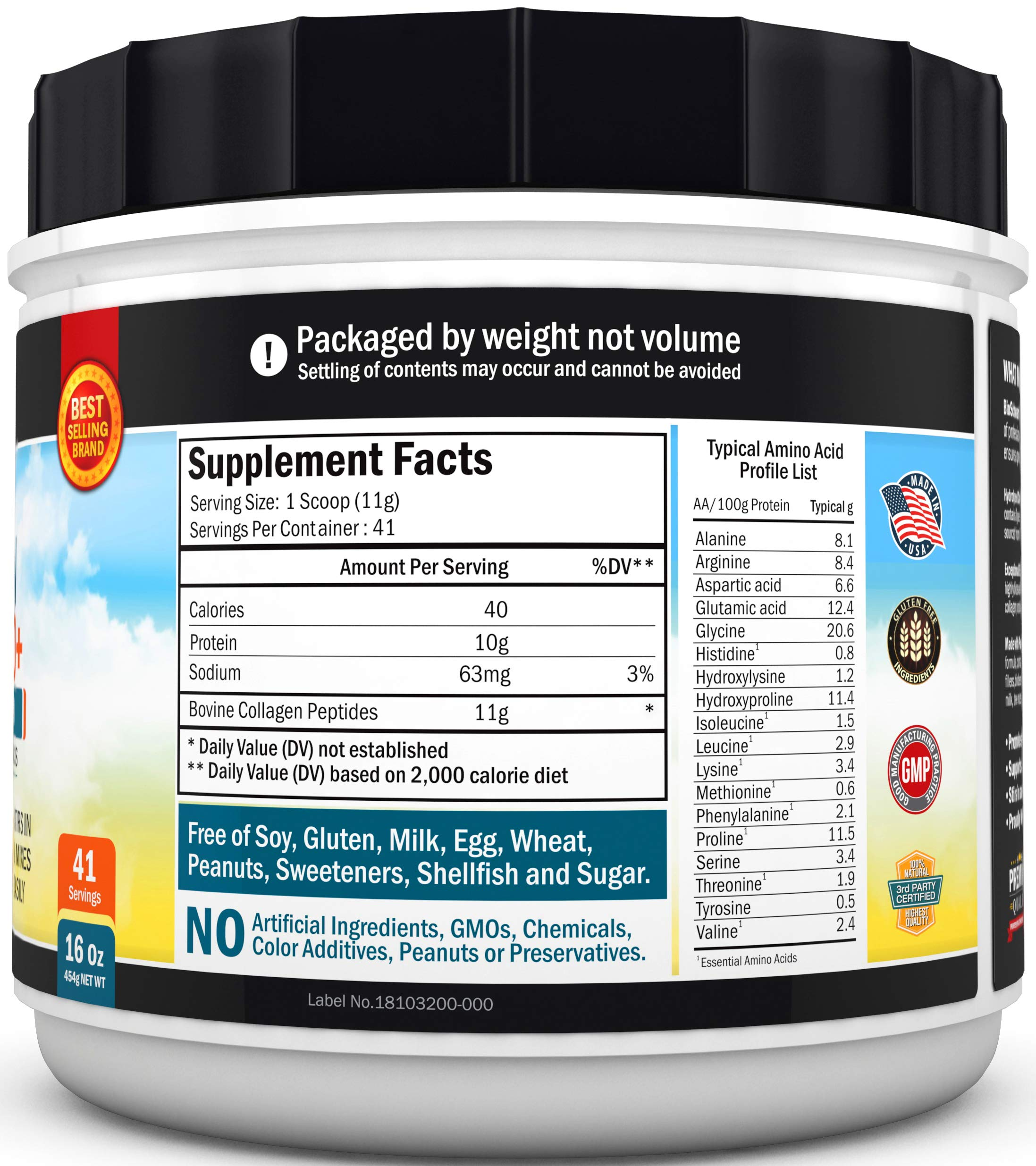 Collagen Peptides Protein Powder - Grass Fed, Pasture Raised with Aminos - Promotes Healthy Skin Hair & Nails - Bone & Joint Support - Hydrolyzed, Unflavored, Non GMO, Gluten Free - Easy to Mix -16 oz by BioSchwartz (Image #3)