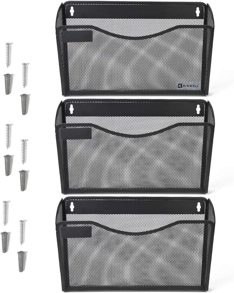 Kinwell 3 Pack Office Hanging Mesh Letter-Size Wall File Holder Organizer Single Vertical Collection Pocket Set Multi-Purpose Organizer Display Magazines Mail Sorter /& Magazine Rack Black