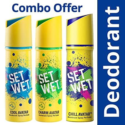 Set Wet Cool, Charm and Chill Avatar Deodorant Spray Perfume, 150ml (Pack of 3)