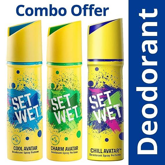 Set Wet Cool, Charm and Chill Avatar Deodorant Spray Perfume, 150ml (Pack of 3) Deodorants & Antiperspirants at amazon