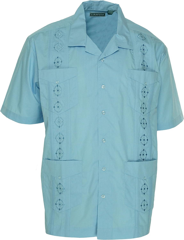 Cubavera Hombres de Manga Corta Esencial Guayabera Bordado Camiseta