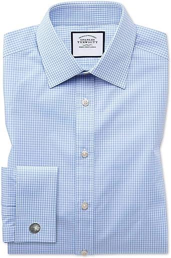 Charles Tyrwhitt Camisa Azul Celeste Slim fit a Cuadros Vichy pequeños: Amazon.es: Ropa y accesorios