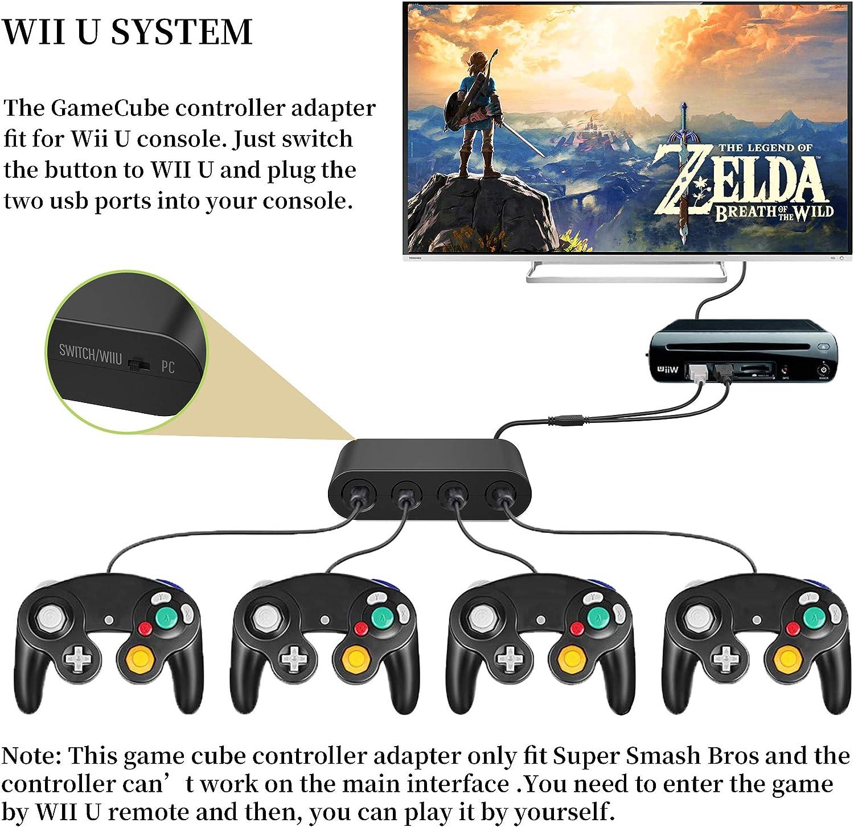 vilcome - Adaptador de controlador para Gamecube, Super Smash Bros Switch Gamecube para Gamecube Nintendo Switch, Wii U y PC USB con 4 puertos, no necesita controladores: Amazon.es: Electrónica