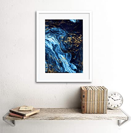abstract particle bokeh dark blue Canvas Poster Wall Art Print Picture Framed