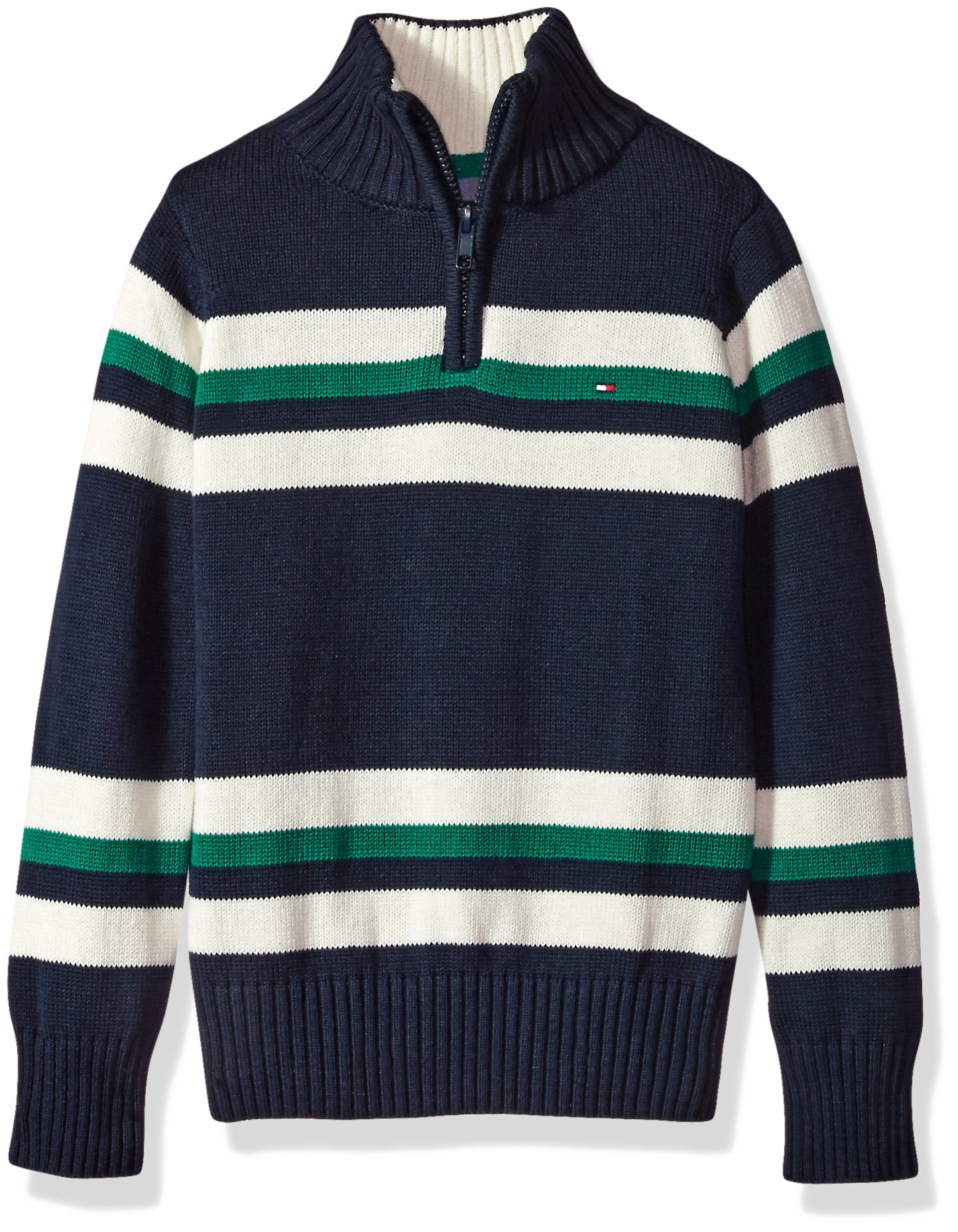 Tommy Hilfiger Little Boys' Long Sleeve Half Zip Pullover Sweater, Leon Swim Navy, 4
