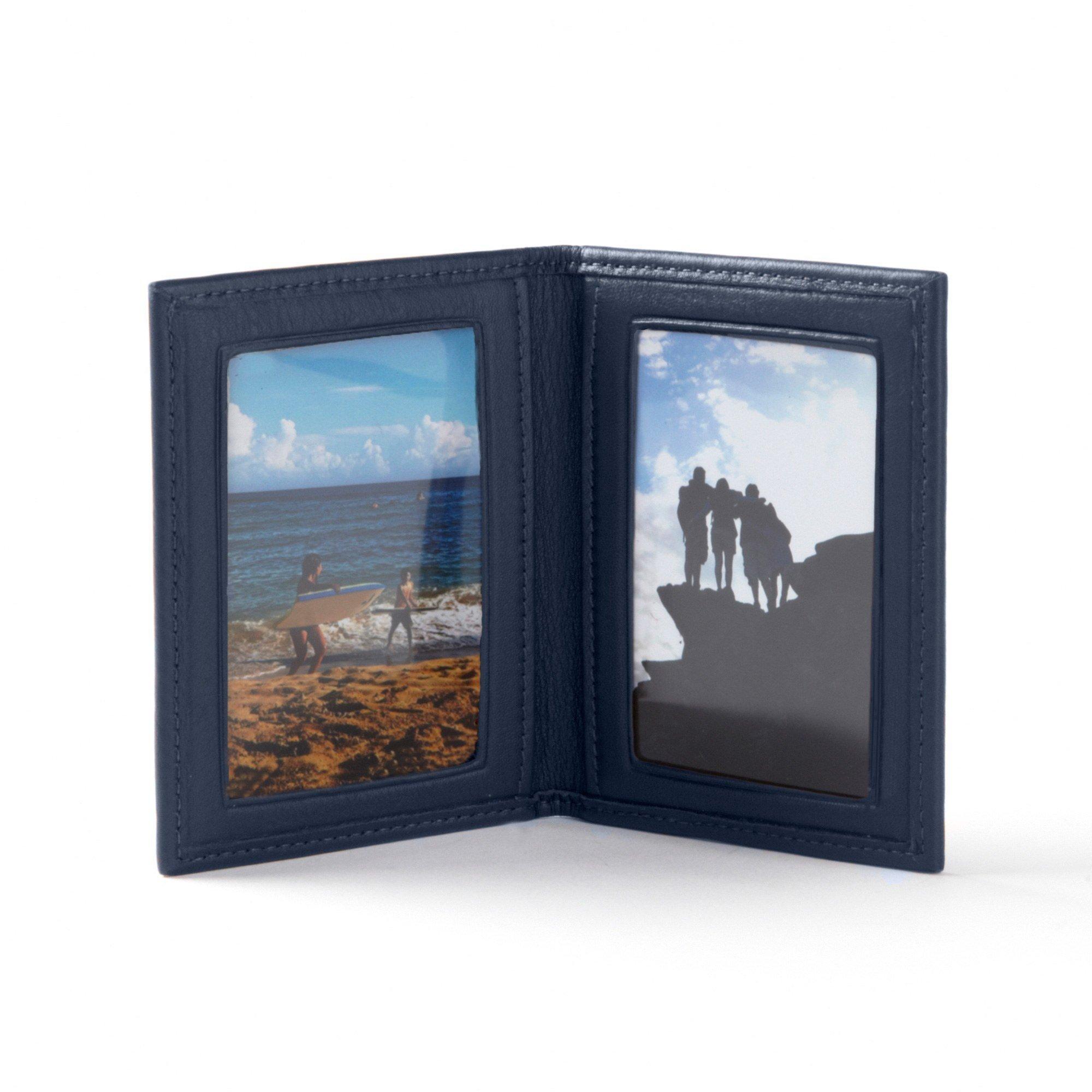 Travel Frame - Full Grain Leather - Navy (blue)