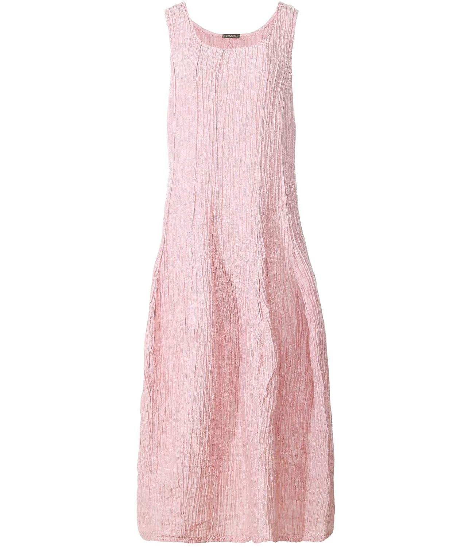 Light Pink Grizas Women's Linen and Silk Blend Sleeveless Crinkled Dress Light Pink