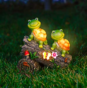 WOGOON Garden Turtle Figurines Outdoor Decorations, Solar Powered Sweet Frog Face Turtles Resin Statue with 4 LED Lights, Garden Art Spring Fall Winter Christmas Decor for Patio Lawn Yard