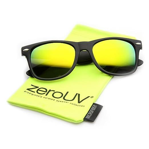 52c1c5c70b0 Flat Matte Reflective Flash Color Lens Large Horn Rimmed Style Sunglasses -  UV400 (Black Sun