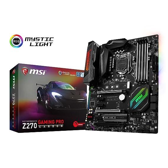 MSI Z270 Gaming Pro Carbon - Placa Base Performance (Chipset Intel Z270, Mystic Light, DDR4 Boost, Steel Armor, Intel LAN, Audio Boost 4, M.2 Shield, ...