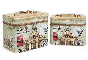 cceb24f026d3 HOYOFO Cosmetics Bag and Makeup Train Case (2 Bags/set),Print Gold