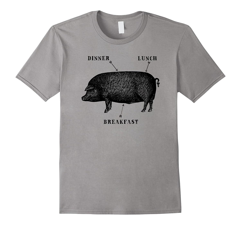 Funny Vintage Bacon Ham Pork Tee Shirt for Foodies-TH