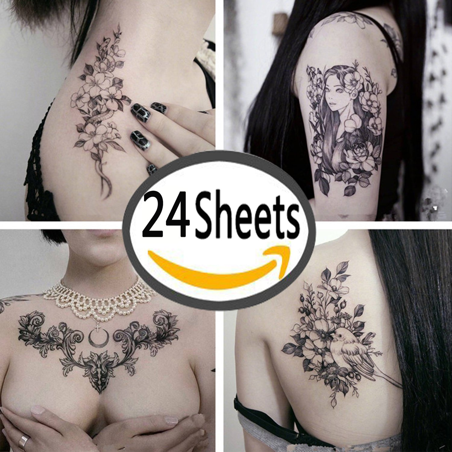 DaLin Sexy Floral Temporary Tattoos for Men Women Black Flowers 24Pcs Collection - Individual Styles Available