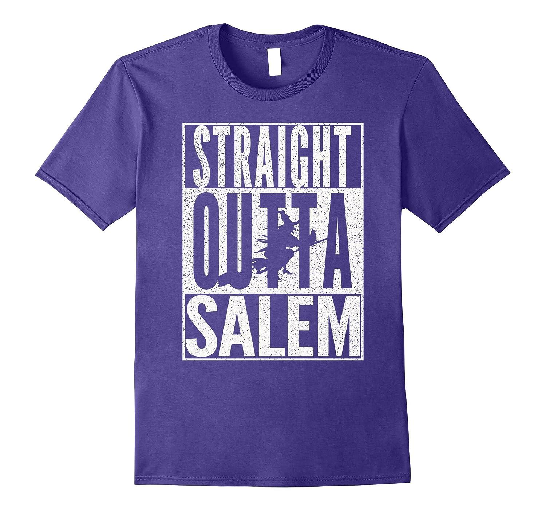 STRAIGHT OUTTA SALEM Halloween Witch Black Cat T-Shirt-TJ