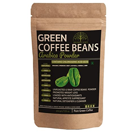 Buy Hollywood Secrets 100 Pure Organic Arabica Green Coffee Beans Powder For Weight Loss 200 Gms Online At Low Prices In India Amazon In