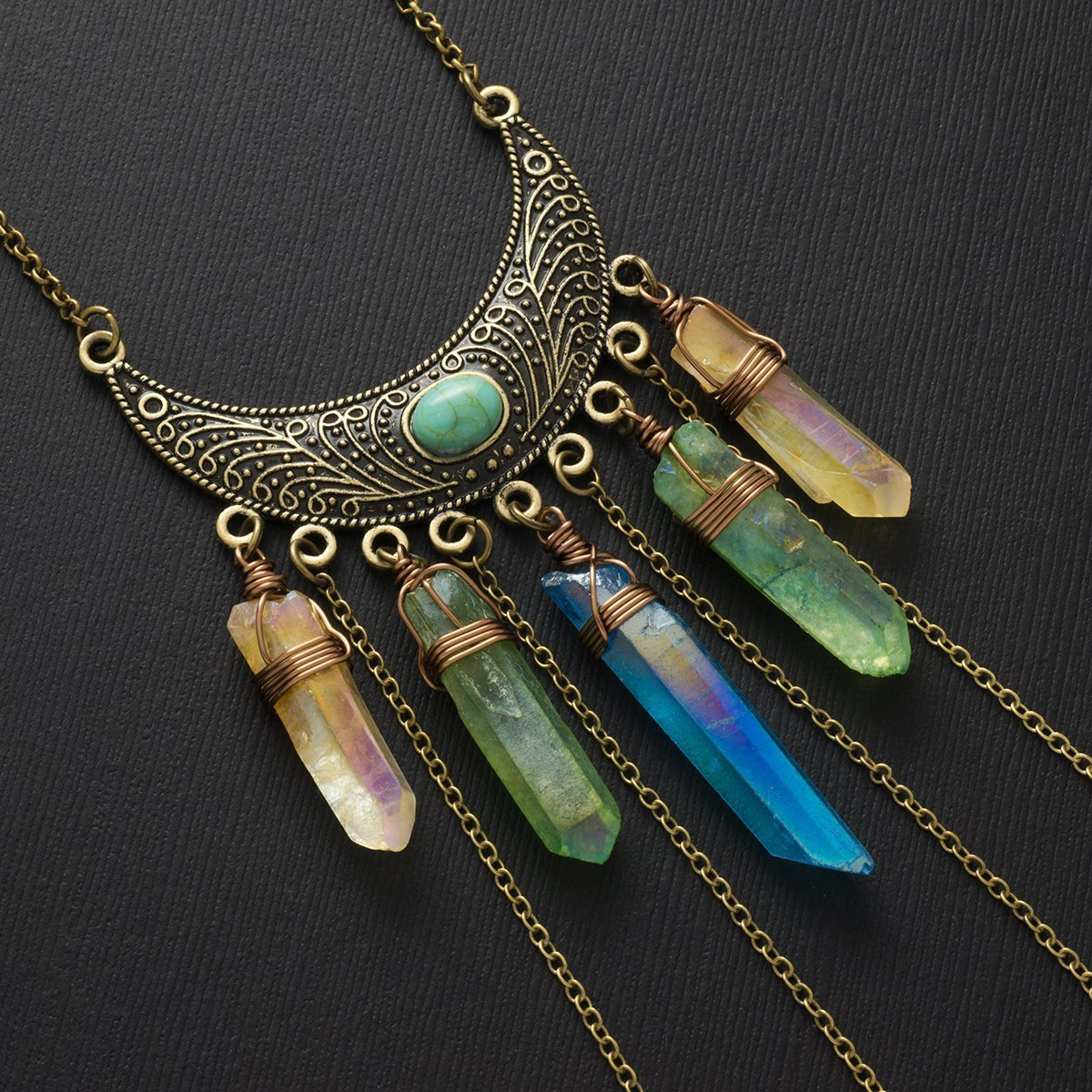 Blue, green and yellow aura quartz crystal point bronze pendant necklace