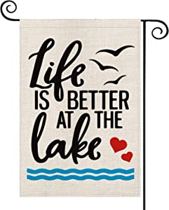 AVOIN Like is Better at The Lake Garden Flag Vertical Double Sided, Lake Bird Flag Yard Outdoor Decoration 12.5 x 18 Inch