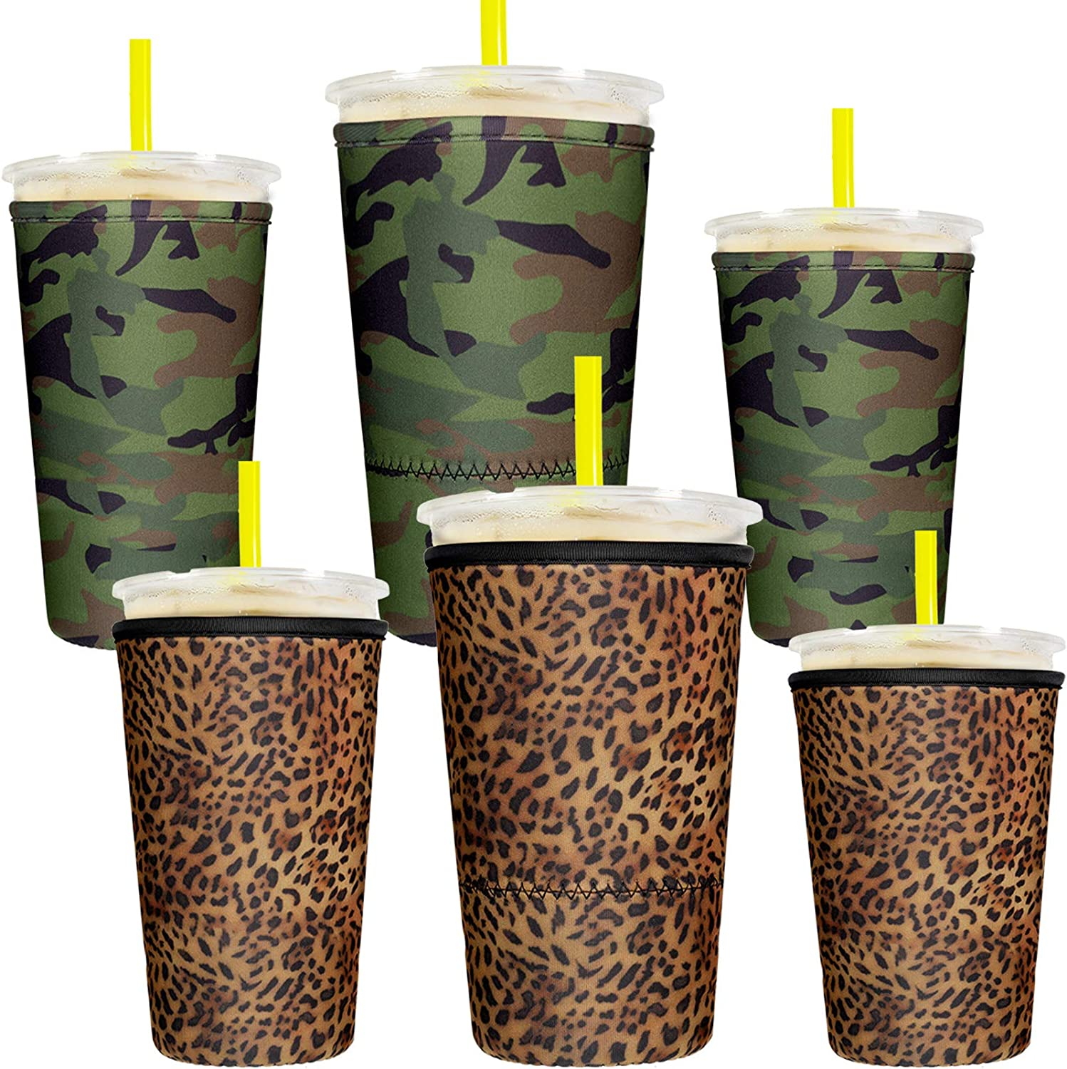 6 Pieces Reusable Coffee Cup Sleeve Neoprene Cup Cover Insulated Cup Holder Camouflage and Leopard Print Insulated Sleeves Drinks Holder for 10 to 32 oz Cold Hot Drink Beverages Cup Bottle