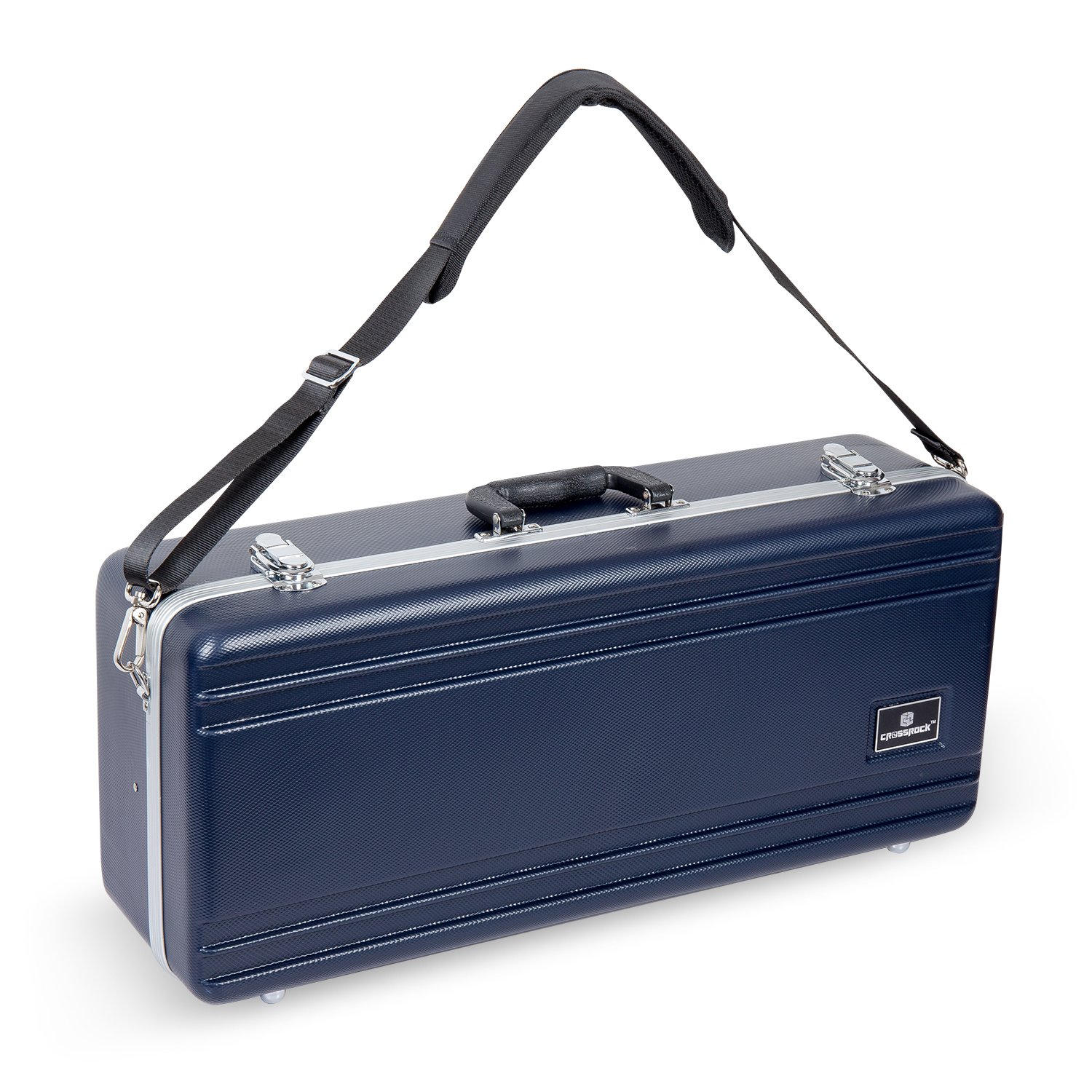 Crossrock CRA860ASBL-R Alto Saxophone Case- Rectangular ABS Molded with Single Shoulder Strap in Blue