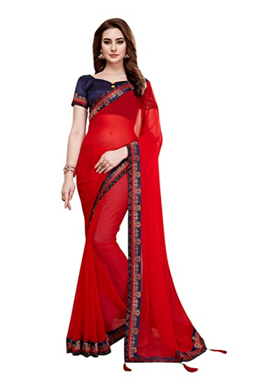 ad8c896795 Soru Fashion Women s Georgette Red Party Wear Saree with Blouse Piece  (3096 Red)  Amazon.in  Clothing   Accessories