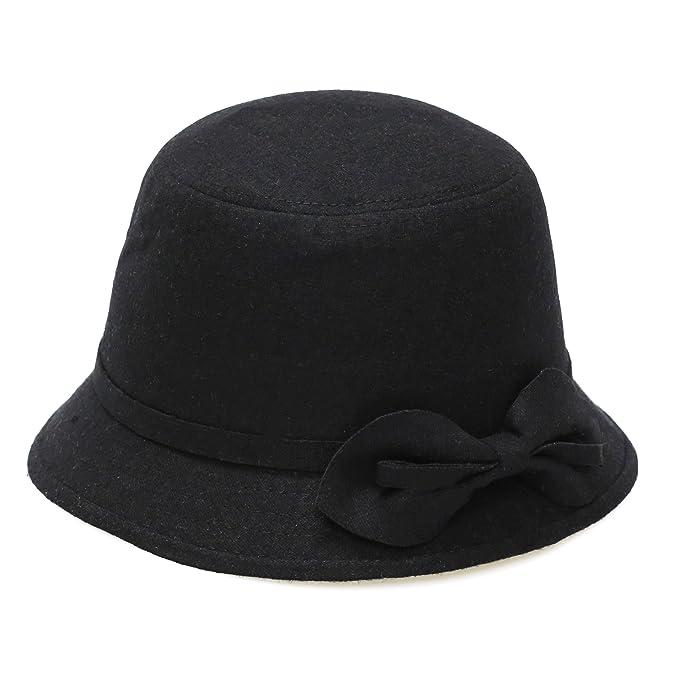 0414c8cb486965 THE HAT DEPOT 800HT710 Women's Vintage Style Cloche Felt Hat-3colors (Black)