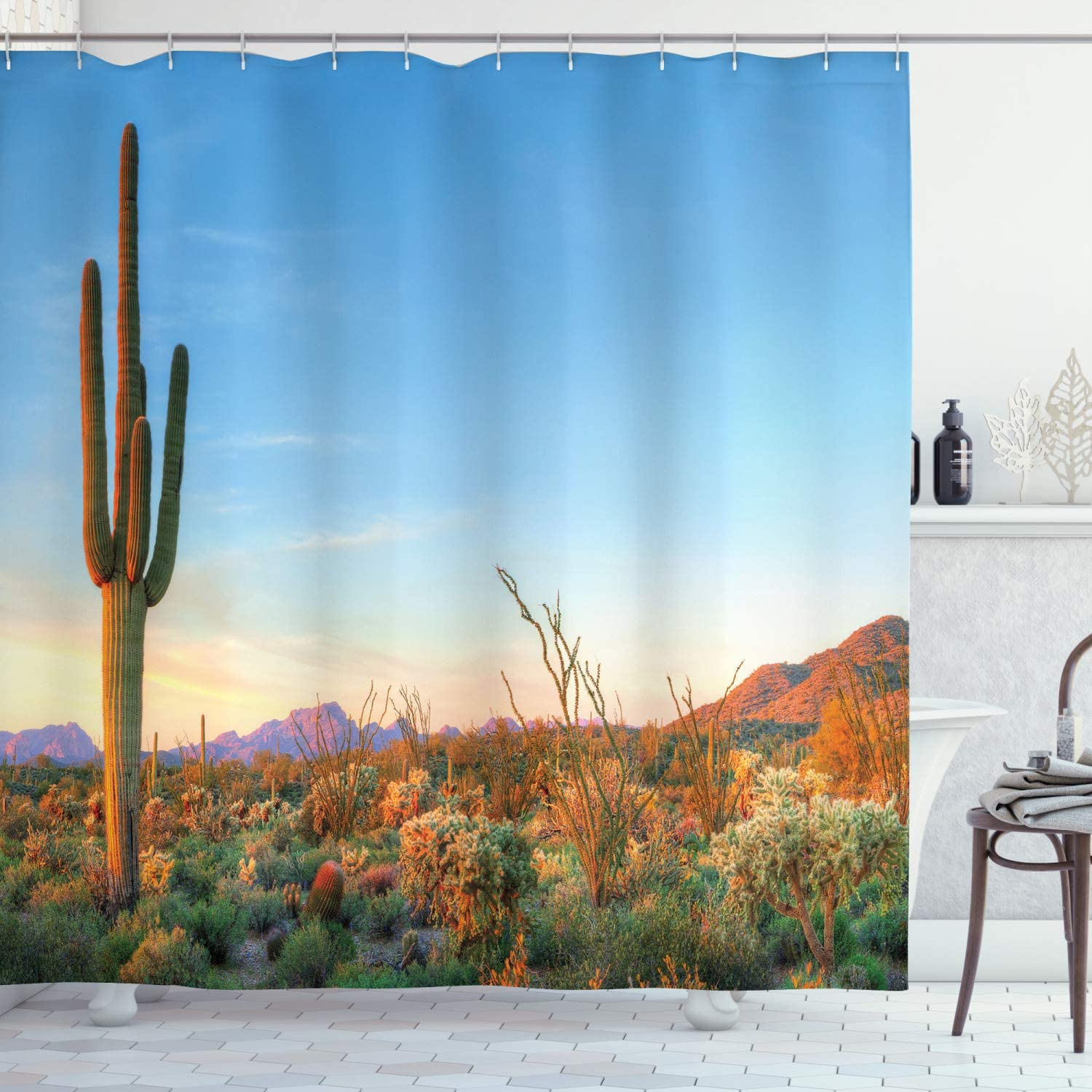 Ambesonne Saguaro Shower Curtain, Sun Goes Down in Desert Prickly Pear Cactus Southwest Texas National Park, Cloth Fabric Bathroom Decor Set with Hooks, 75