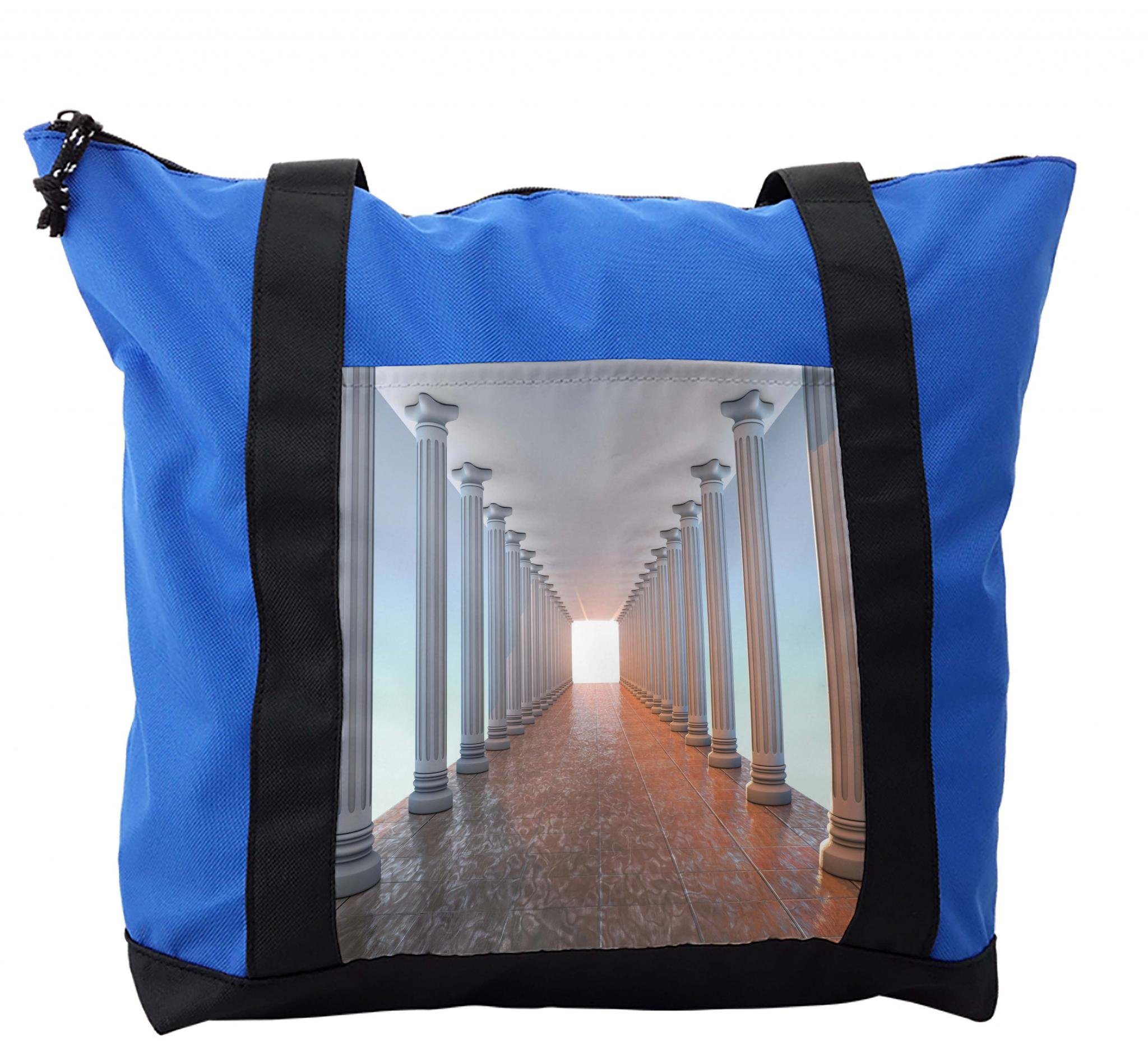 Lunarable Vintage Shoulder Bag, Marble Floor Old Library, Durable with Zipper