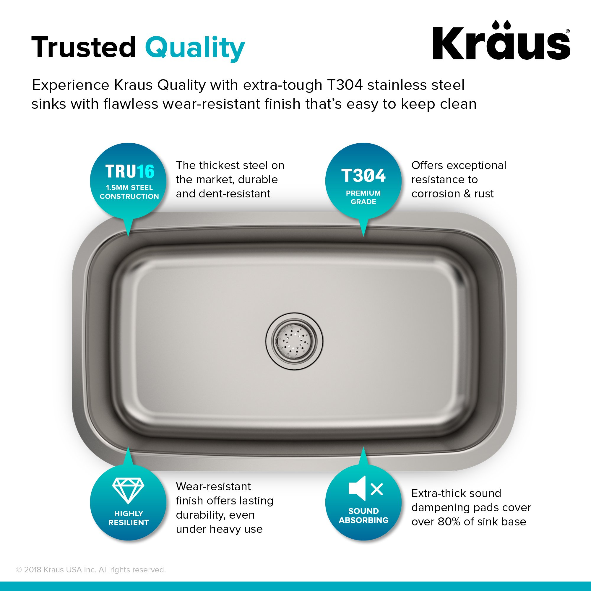 Kraus KBU14 31-1/2 inch Undermount Single Bowl 16-gauge Stainless Steel Kitchen Sink by Kraus (Image #5)