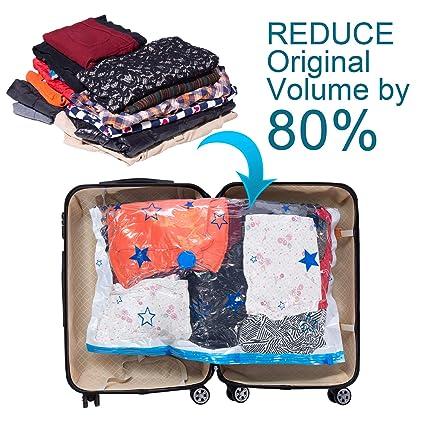 WAYEEE - Bolsas de almacenamiento al vacío con bomba de mano gratis, 6 bolsas jumbo (40 x 30 cm), mucho más gruesas, resistentes al aire, mejor calidad y no ...