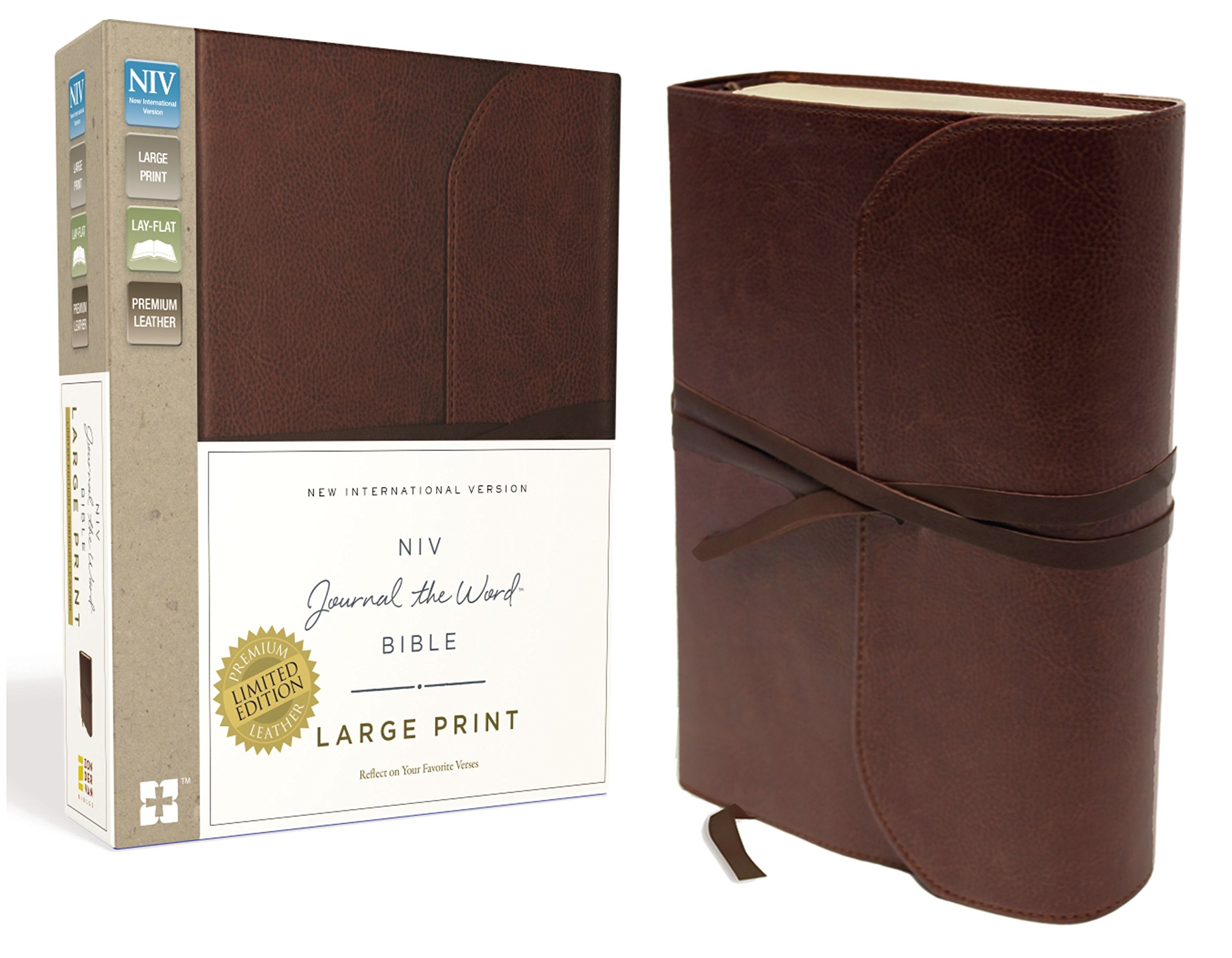 NIV, Journal the Word Bible, Large Print, Premium Leather, Brown: Reflect on Your Favorite Verses