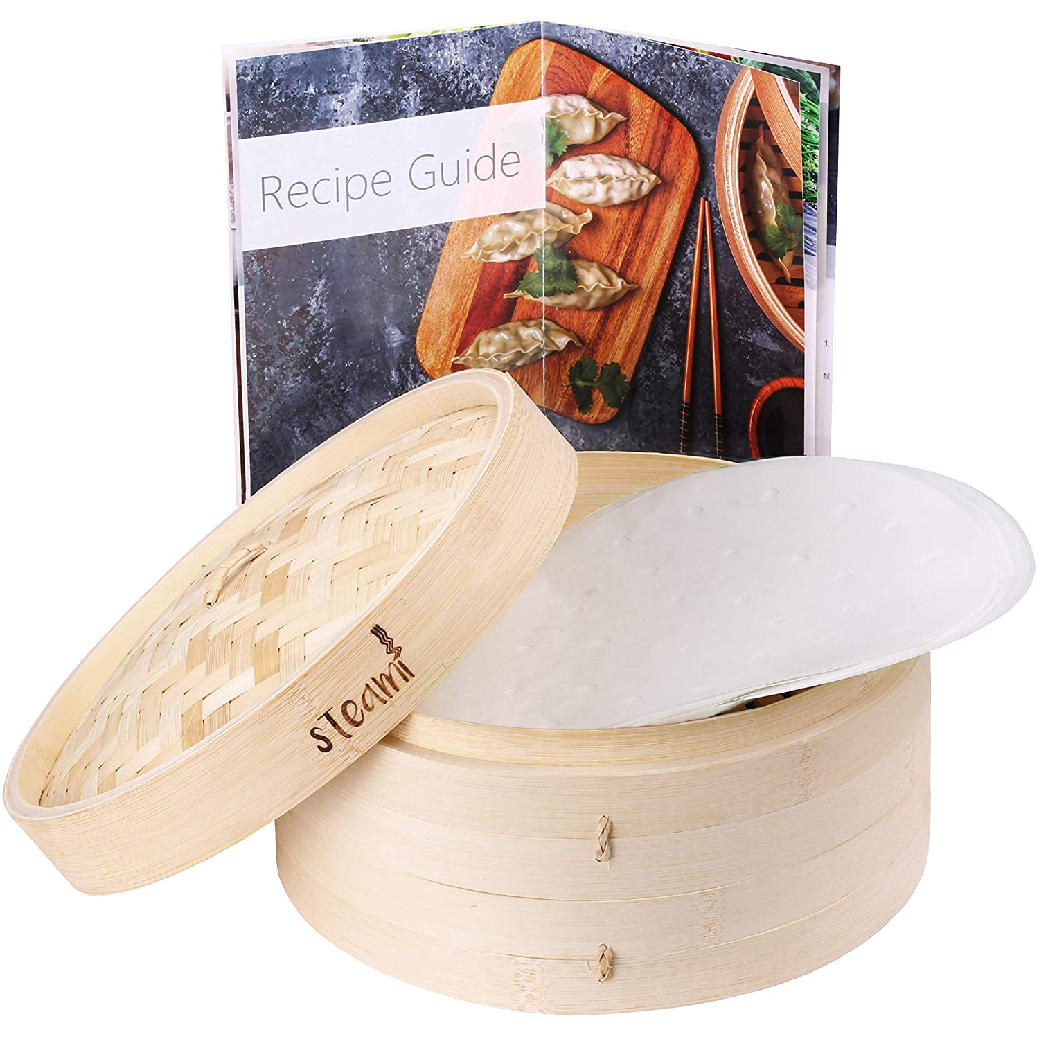 Steami - Bamboo Steamer (10 inch) with Liners and Recipe Guide