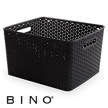 Delicieux BINO T Weave Woven Plastic Storage Basket, Large (Black)