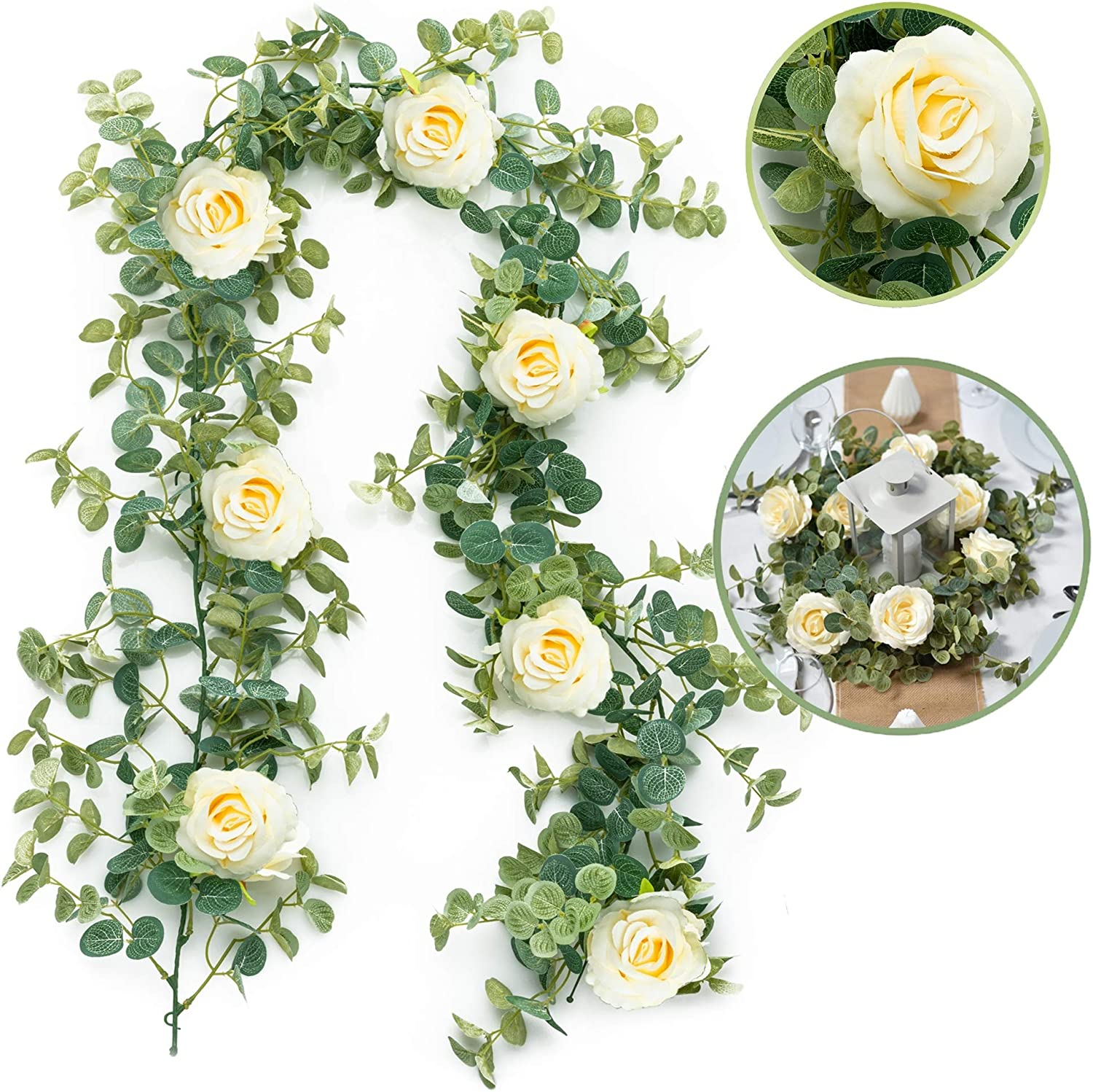 Artificial Eucalyptus Garland with Flowers Champagne Roses, 6' Long Fake Flower Garland, Eucalyptus Leaves Greenery Garland Flower Decorations Home Party Wedding Arch Wedding Table Garland