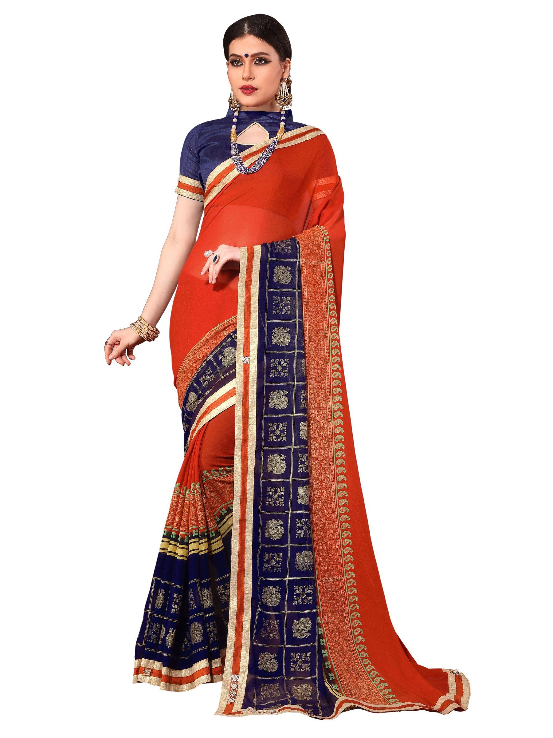 ELINA FASHION Saree Women Red Royal Chiffon Foil Print Embroidery Sarees