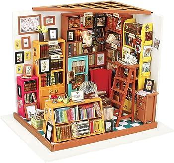 Robotime Dollhouse Miniature DIY Library House Kit