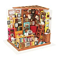 ROBOTIME Dollhouse Kit Miniature DIY Library House Kits Best Birthday Gifts for...