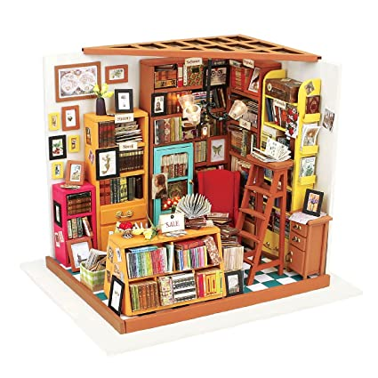 ROBOTIME DIY Wooden Miniature Dollhouse Furniture Kit Library with ...