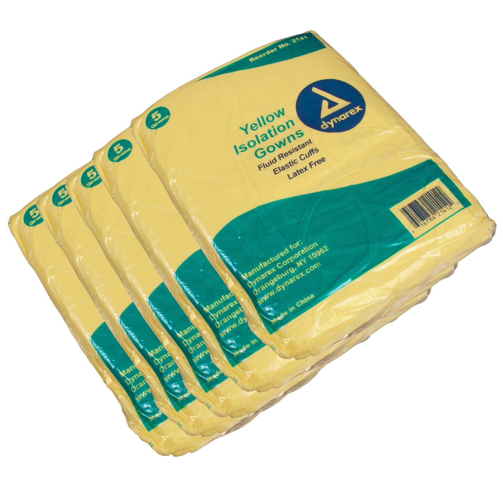 First Voice TS-2141-25 Isolation Gown-Fluid resistant, Extra Long, Yellow (Pack of 25)