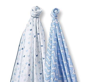 SwaddleDesigns Marquisette Swaddling Blanket Premium Cotton Muslin Blue Chevron