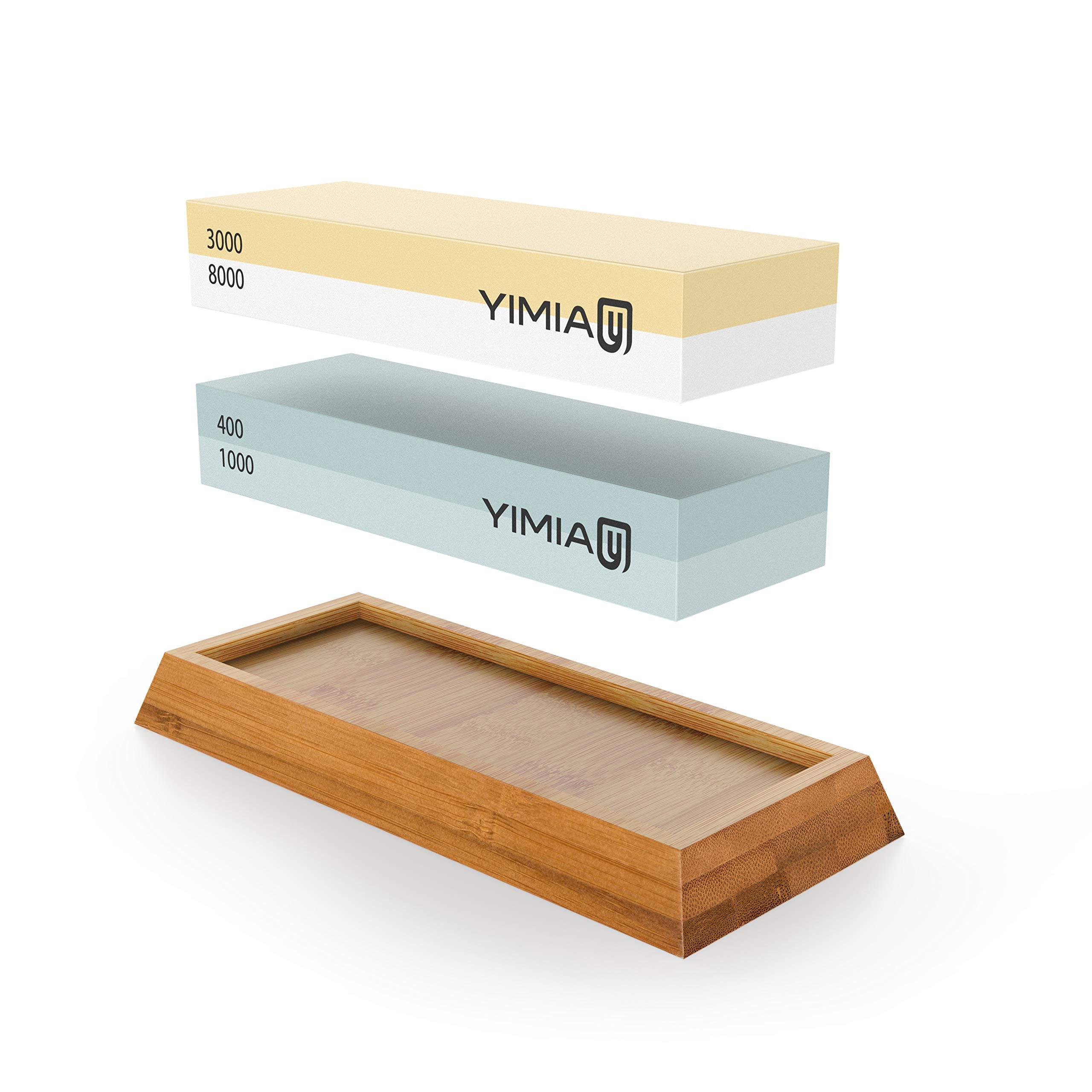 Sharpening Stone Kit, YIMIA 4 Side Grit 400/1000 3000/8000 Whetstone by YIMIA (Image #1)