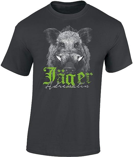 Camiseta: El Jabalí - Adrenalina para el Cazador/T-Shirt en aleman/Caza/Verraco/Trabajo/Bosque/Animal/Salvajina/Alemania/Jager/Hunter/Regalo para ...