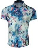 WULFUL Mens Floral Short Sleeve Button Down Slim Fit Print Shirts Hawaiian Designs
