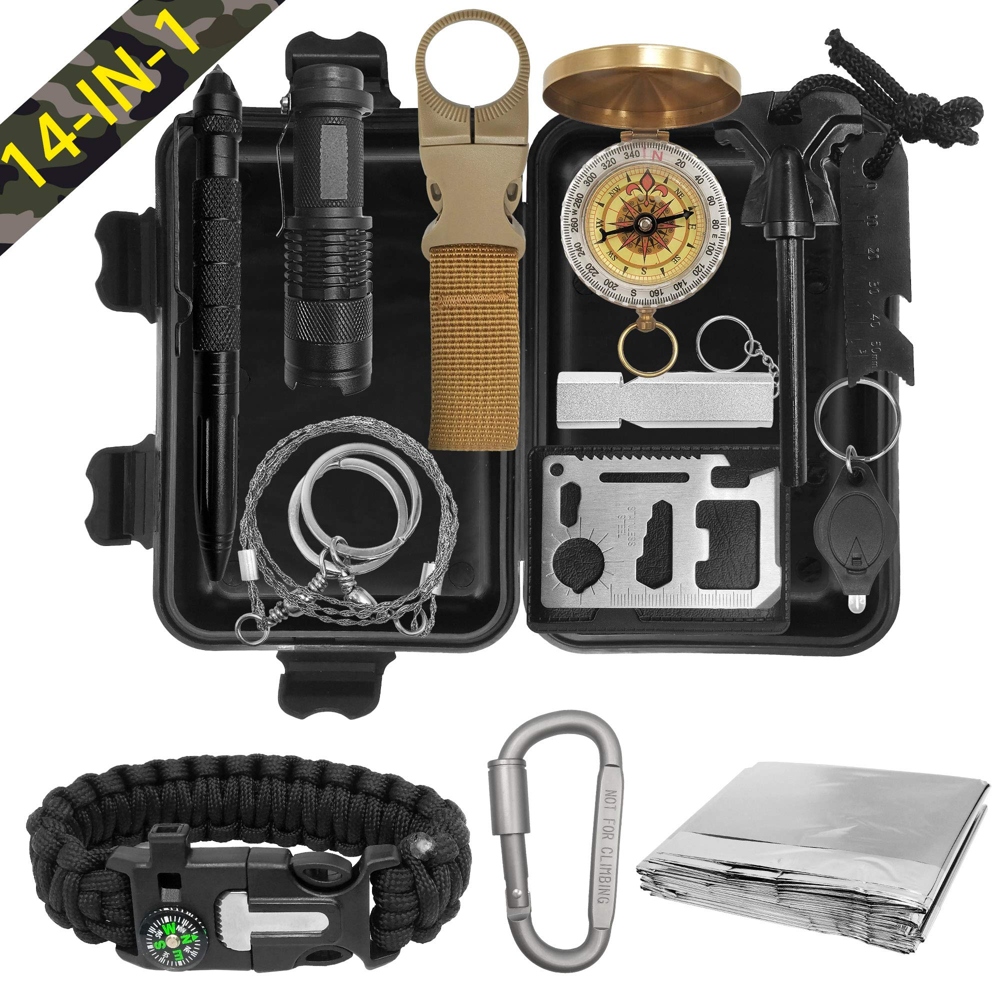 XMQY Pocket Survival Kits - Boy Scout Gifts First Aid Kit Camping Gear Emergency Tools Car Gadgets Multitool Hiking Hunting Accessories Christmas Day Birthday Presents Son Him Men by XMQY