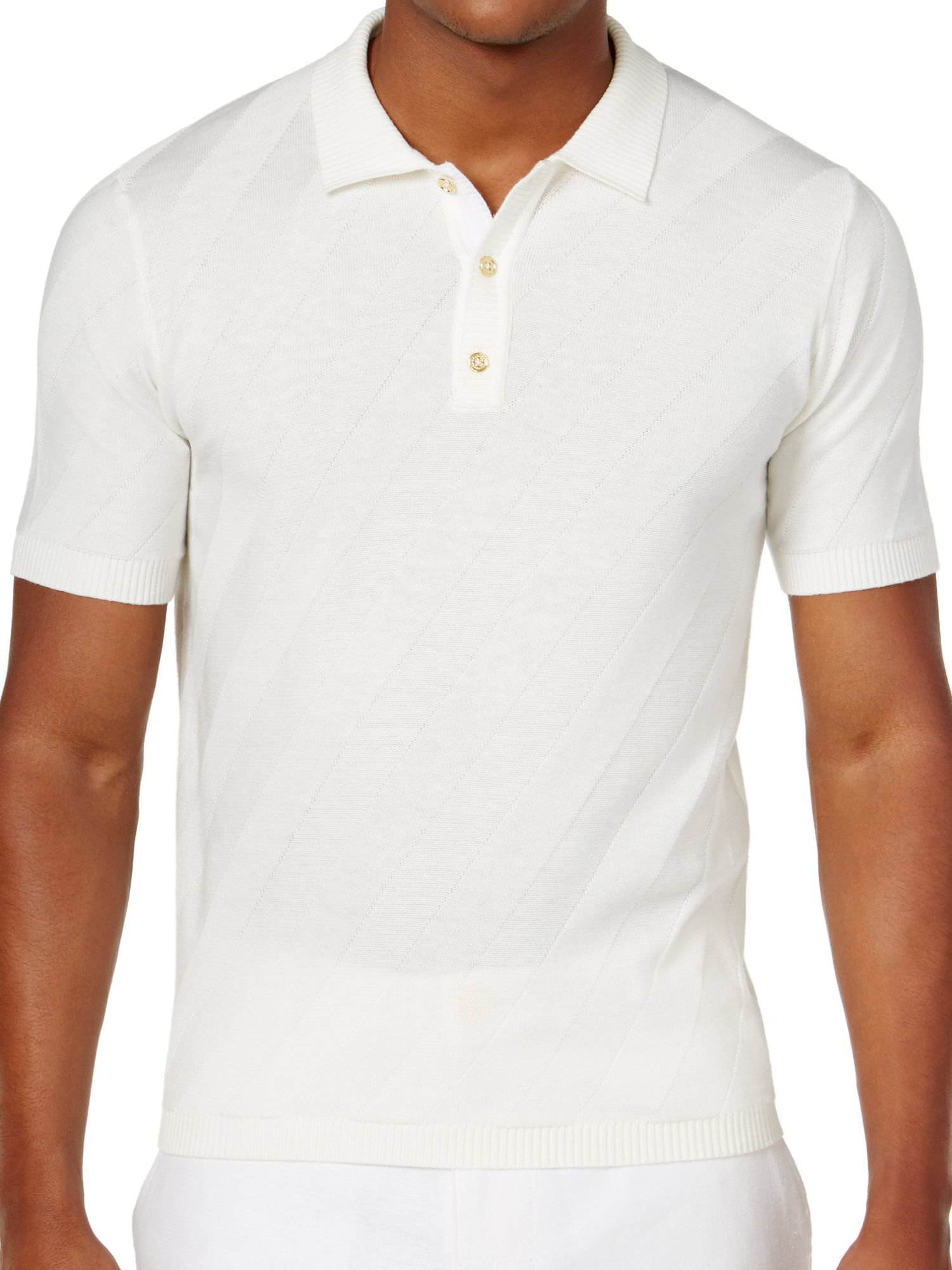 Sean John Men's Jacquard Stripe Sweater Polo (Large, Cream)