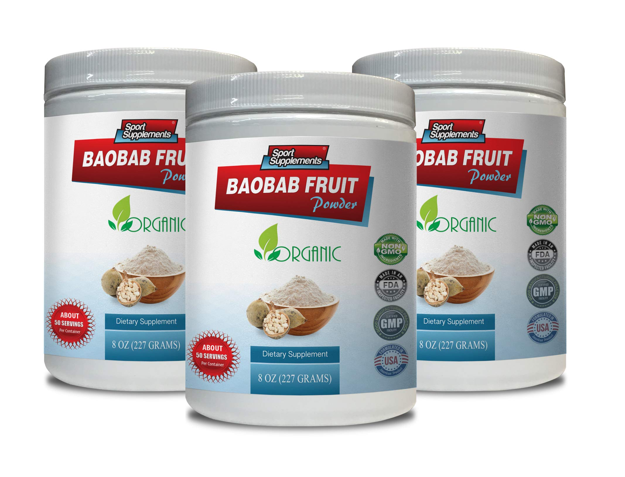 Immune Support Dietary Supplement - Baobab Fruit Powder - Organic Dietary Supplement - Digestive Detox Cleanse - 3 Cans 24 OZ (150 Servings)