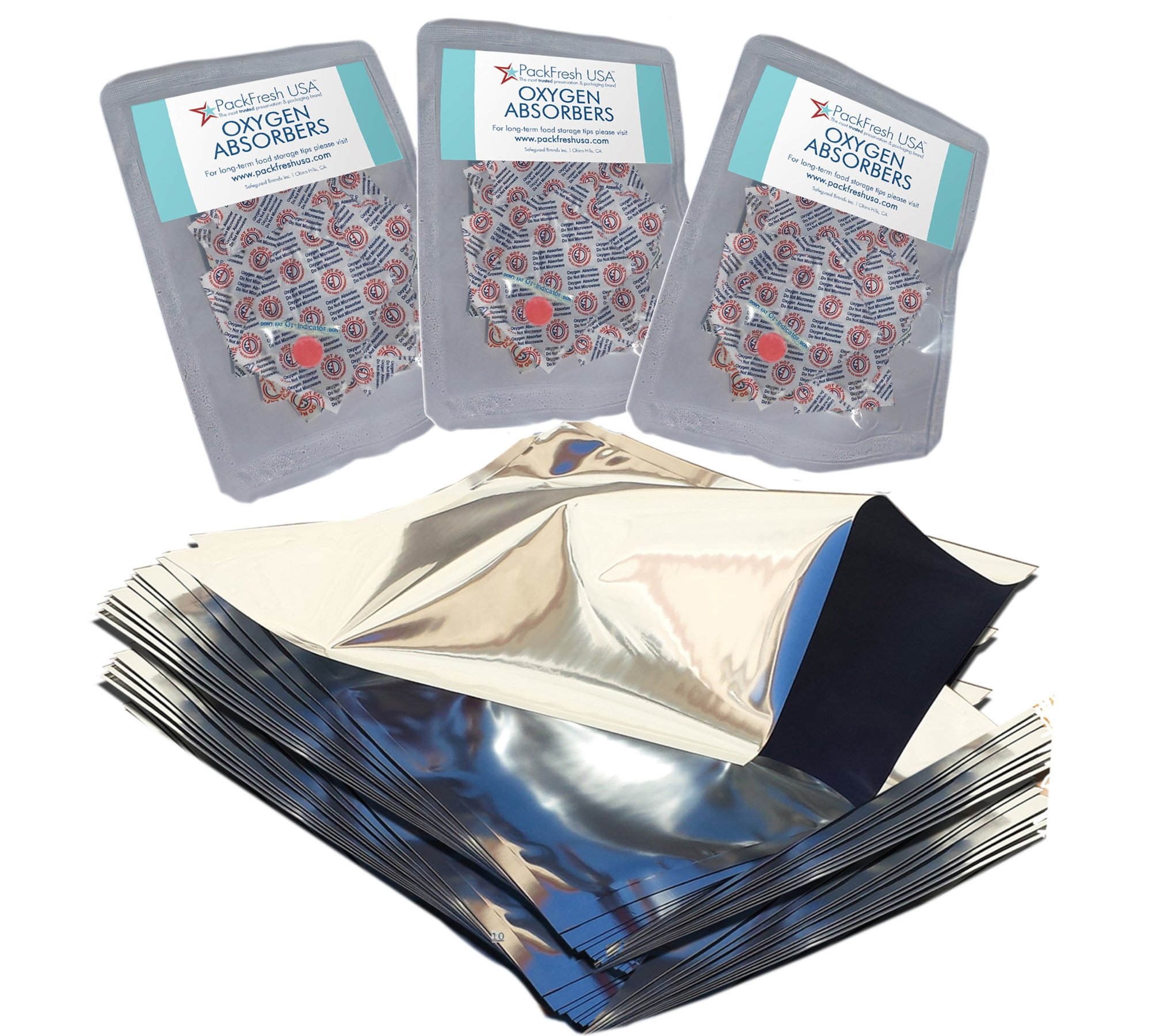 One Quart Genuine Mylar Bags (Made in USA) with 300cc Oxygen Absorbers (25)