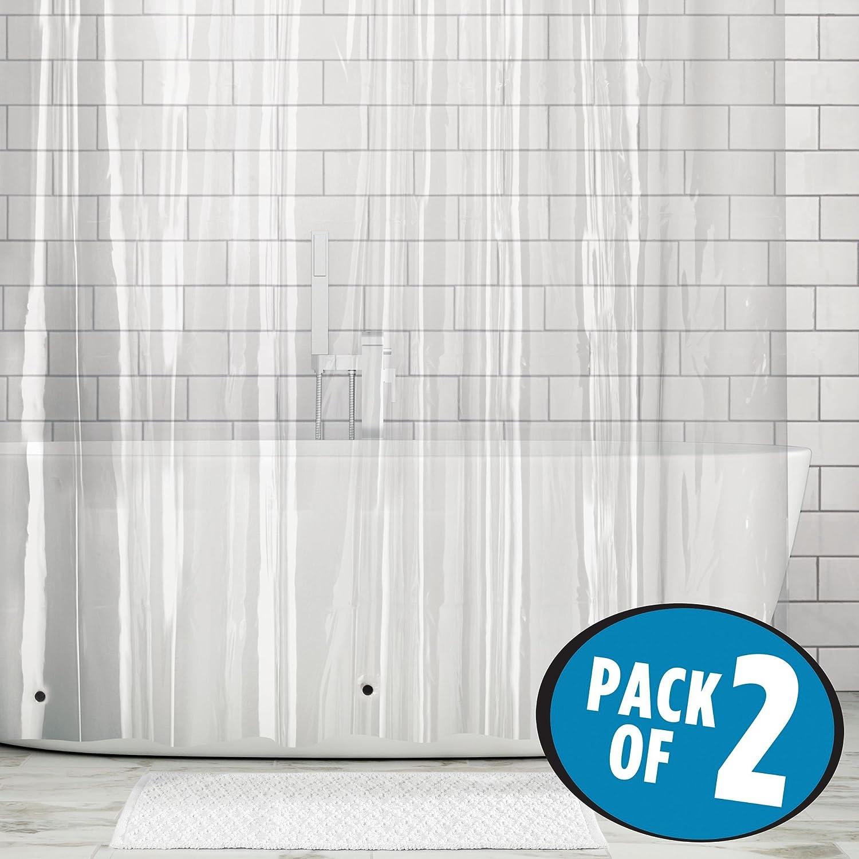 Conjunto de 2 sencillas cortina de PEVA. Medida 183x183cm.