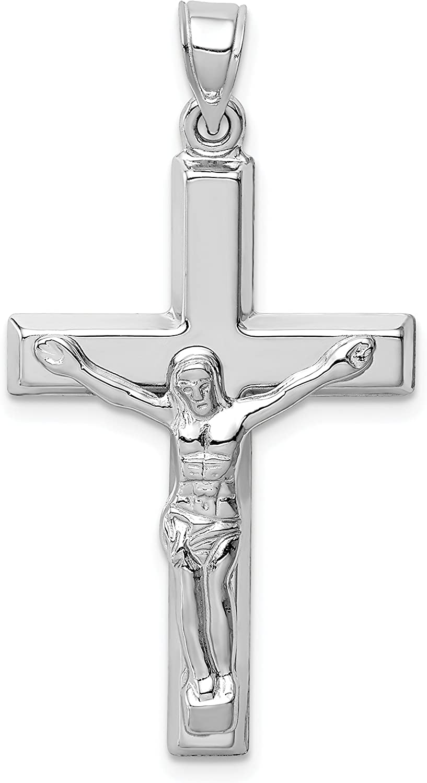 14k White Gold Polished Latin Crucifix Pendant 34x21mm
